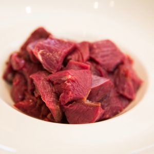 Diced venison steak