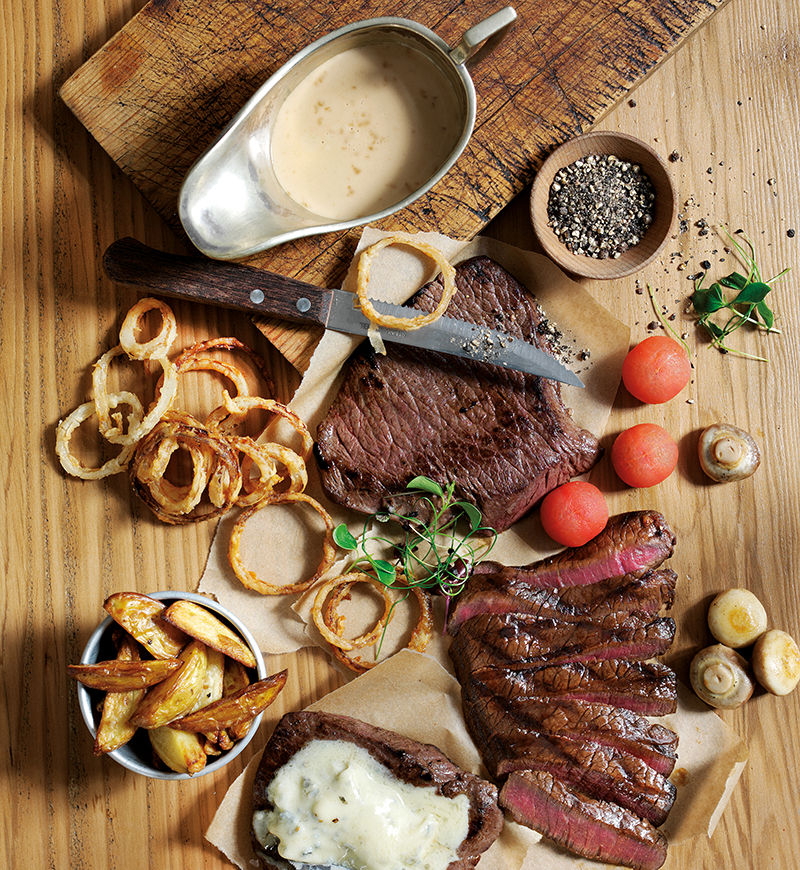 Trio of venison steaks