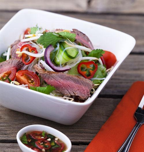 Thai salad with venison steaks