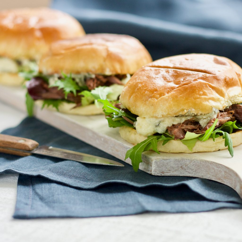 Pulled Venison with Blue Cheese in a Brioche Bun