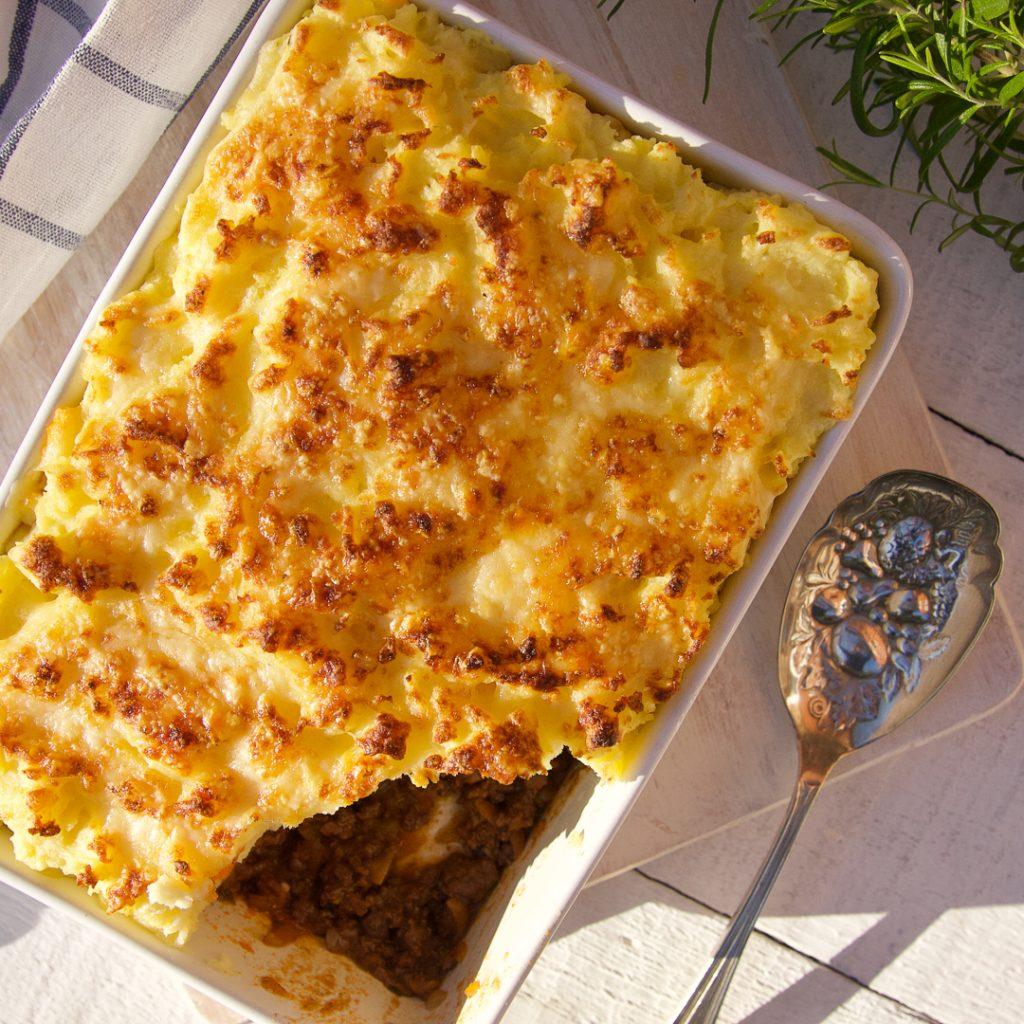 Venison Cottage Pie topped with Cheesy Potato Mash